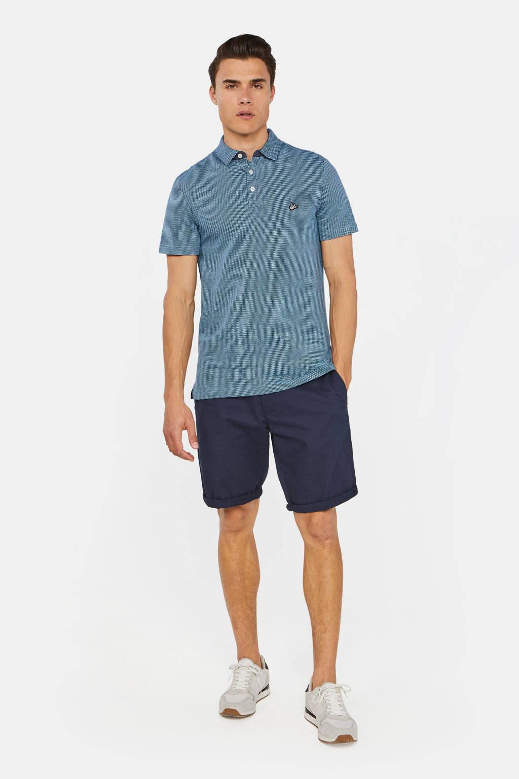 WE Fashion slim fit polo met jacquard blauw, Blauw
