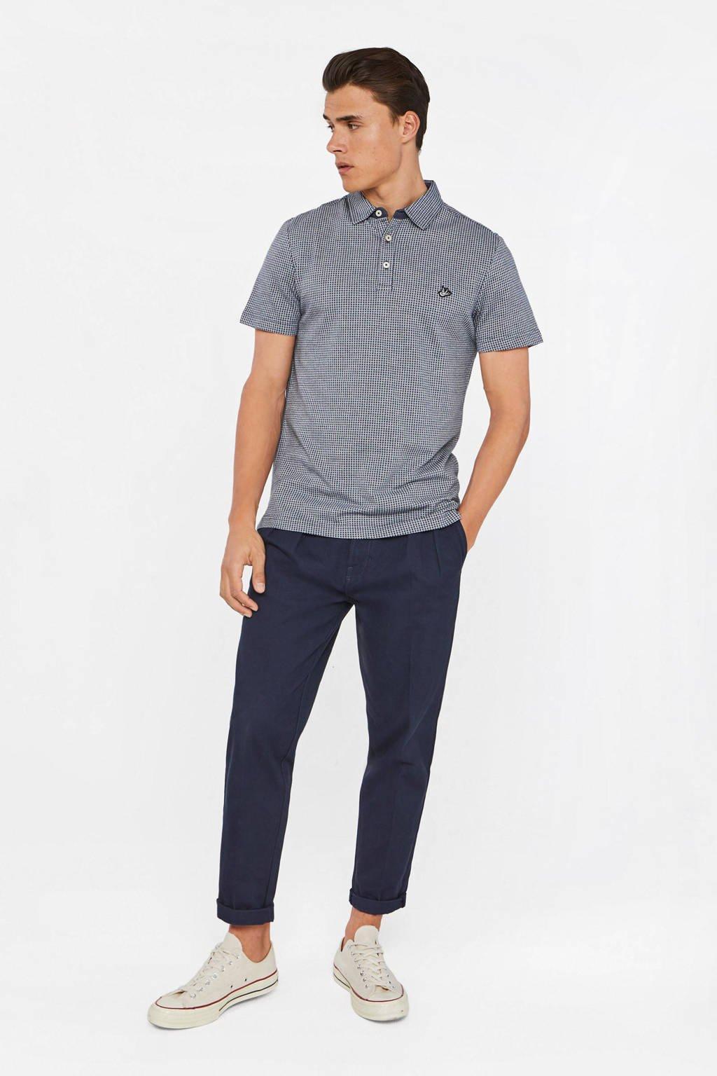 WE Fashion slim fit polo met jacquard donkerblauw, Donkerblauw