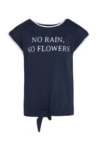 WE Fashion regular fit T-shirt met tekst en borduursels donkerblauw, Donkerblauw