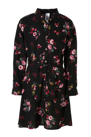 jurk met all over print en ceintuur zwart/roze/groen