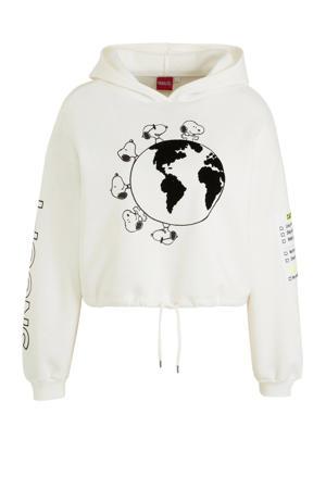 hoodie met printopdruk ecru/zwart