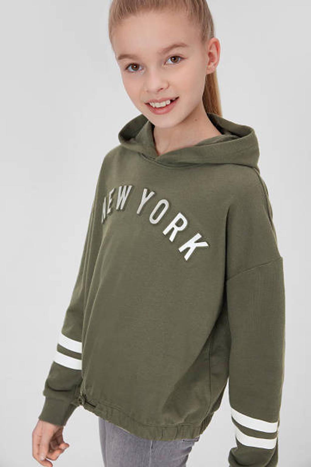C&A Here & There hoodie met tekst en 3D applicatie army groen/zilver, Army groen/zilver