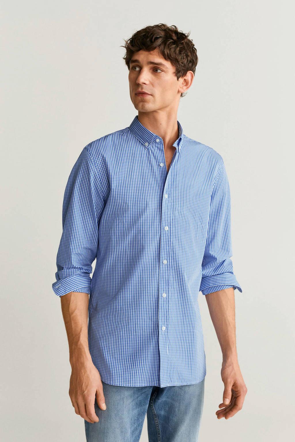 Mango Man geruit slim fit overhemd pastelblauw