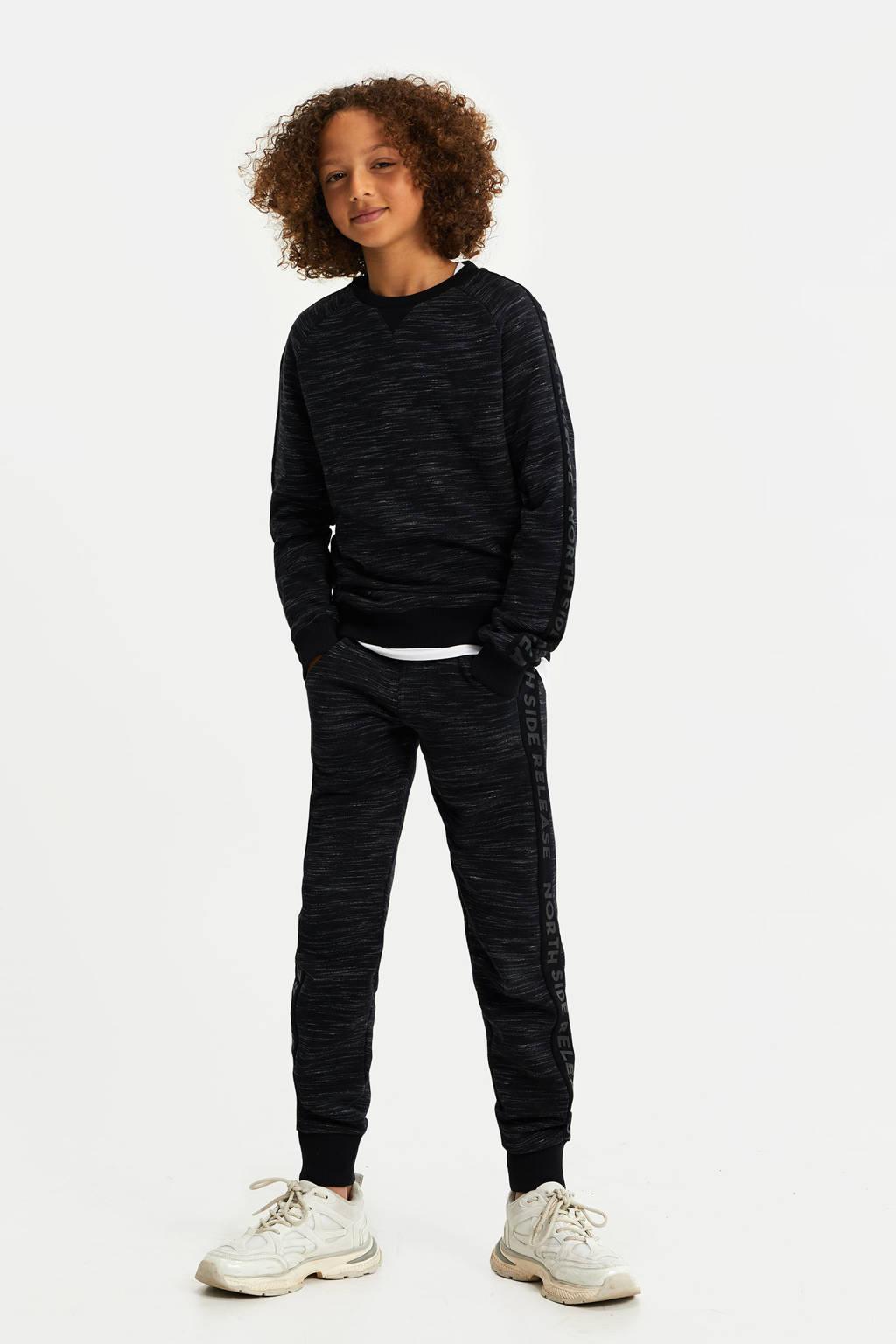 WE Fashion gemêleerde slim fit broek zwart, Zwart