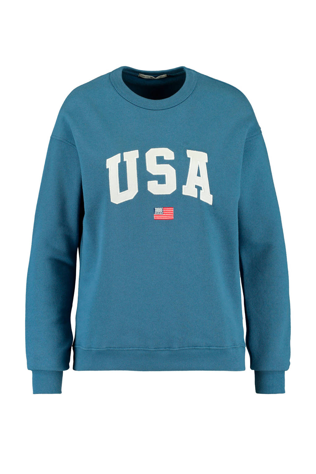 America Today sweater met logo blauw, Blauw