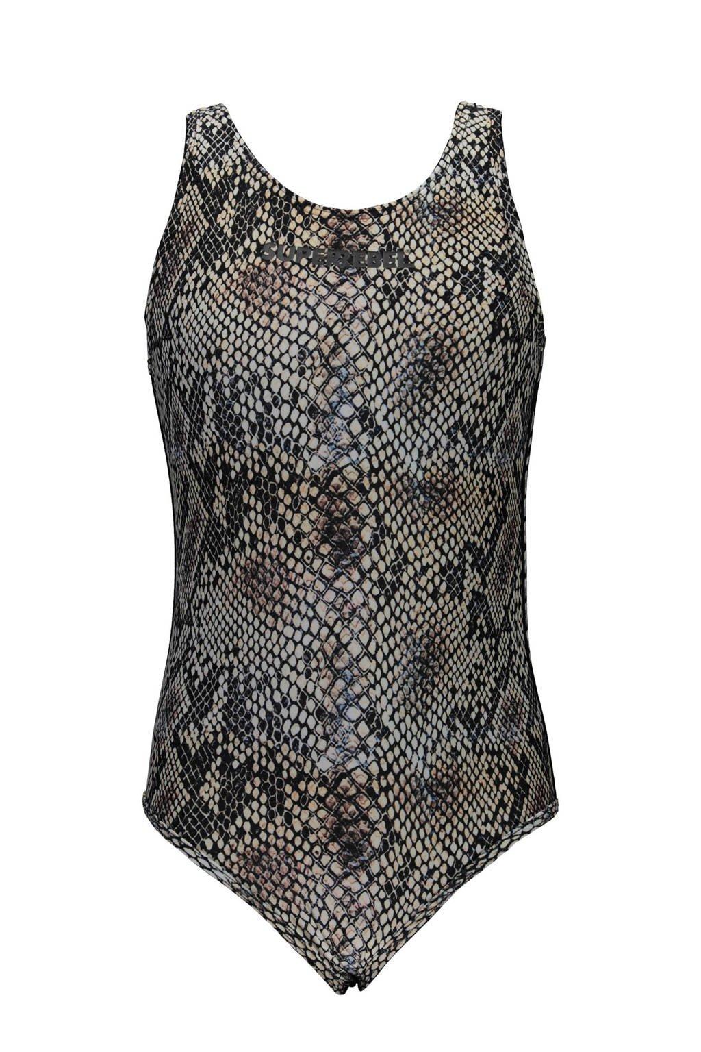 SuperRebel badpak slangenprint, Antraciet