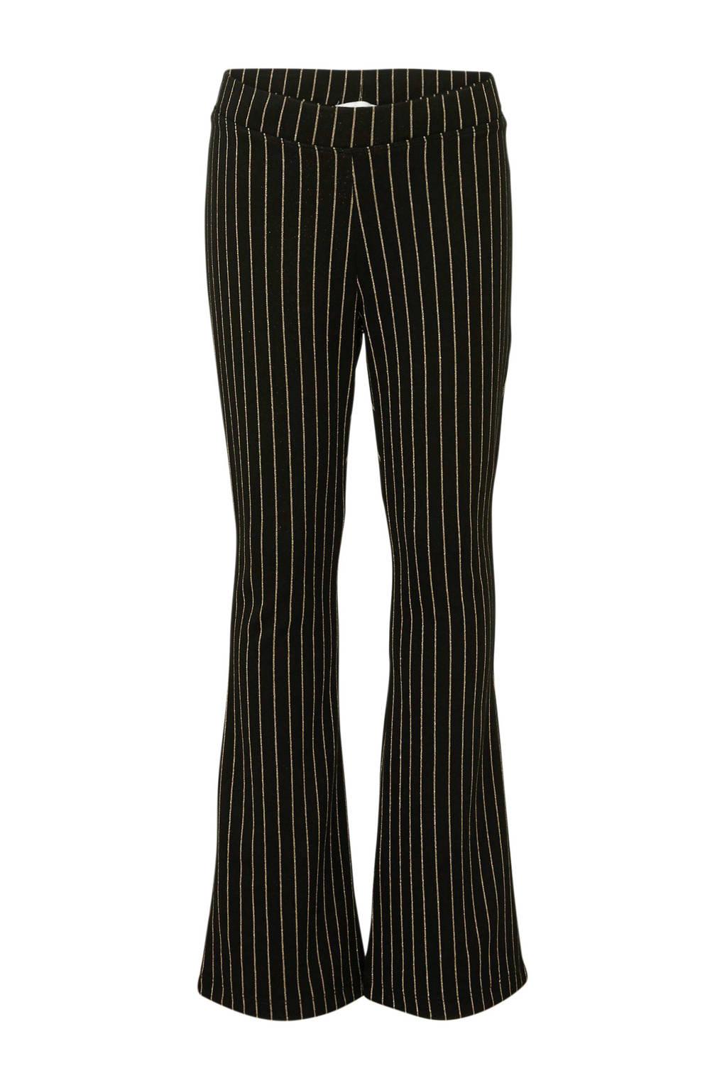 NAME IT KIDS gestreepte flared broek zwart/goud, Zwart/goud