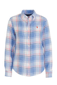 POLO Ralph Lauren geruite linnen blouse blauw/rood/wit, Blauw/rood/wit