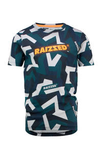 Raizzed T-shirt Hudson met all over print donkerblauw/petrol/offwhite, Donkerblauw/petrol/offwhite