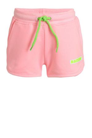 regular fit sweatshort Auston met logo lichtroze/limegroen
