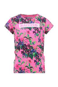 Raizzed T-shirt Madrid met all over print roze/groen/blauw, Roze/groen/blauw