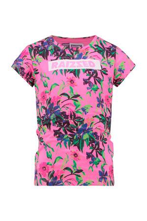 T-shirt Madrid met all over print roze/groen/blauw