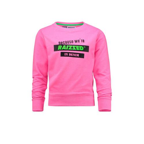 Raizzed sweater Dakota met printopdruk felroze