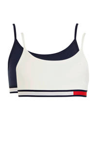 Tommy Hilfiger bh top - set van 2 donkerblauw/wit/rood, Wit/donkerblauw/rood