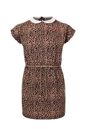 jurk met panterprint en ceintuur bruin/zwart