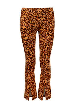 flared broek met panterprint oranje/bruin