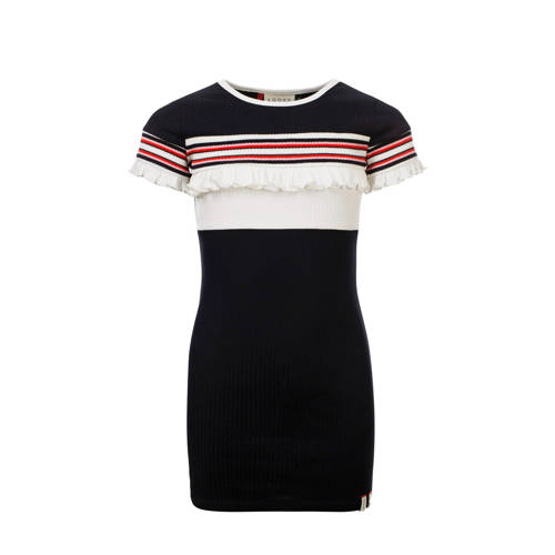 LOOXS jersey jurk met ruches donkerblauw/wit/rood