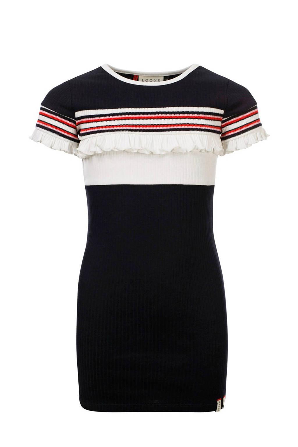 LOOXS jersey jurk met ruches donkerblauw/wit/rood, Donkerblauw/wit/rood