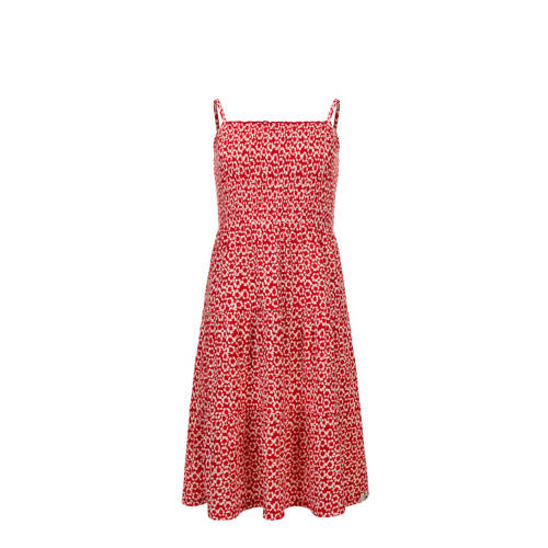 LOOXS Little gebloemde A-lijn jurk rood/wit