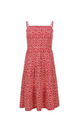 gebloemde A-lijn jurk rood/wit