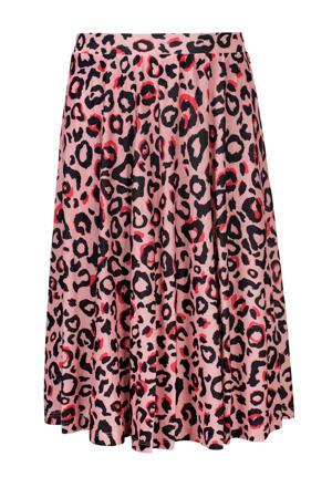 rok met panterprint lichtroze/roze/zwart