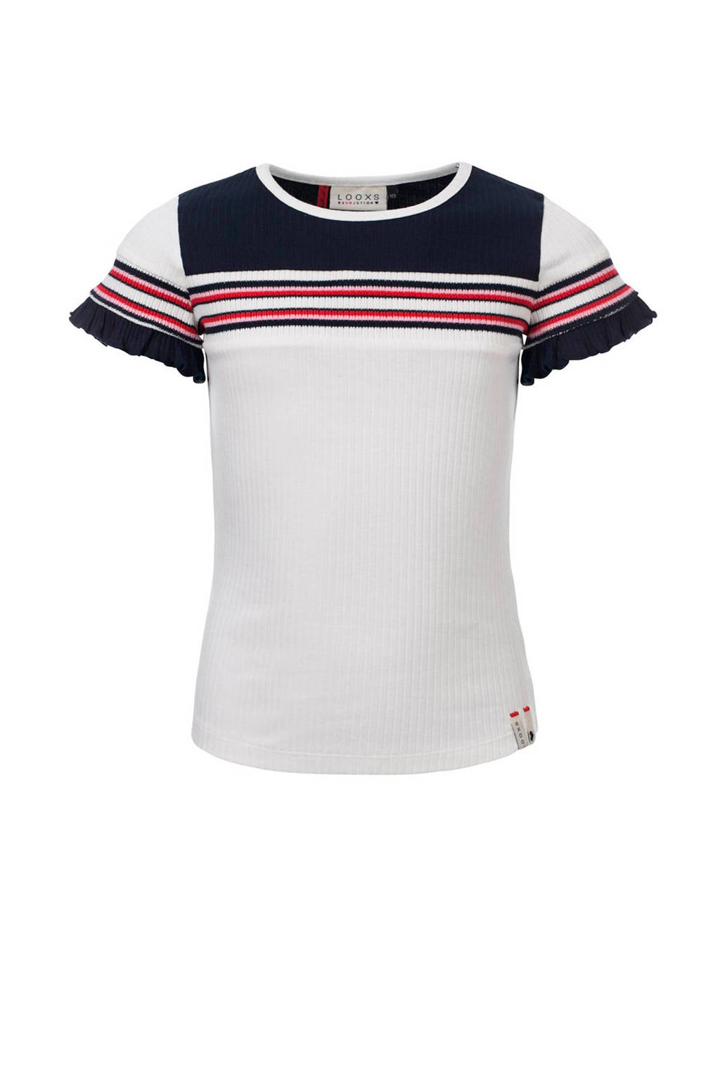 LOOXS T-shirt met ruches wit/donkerblauw/rood, Wit/donkerblauw/rood