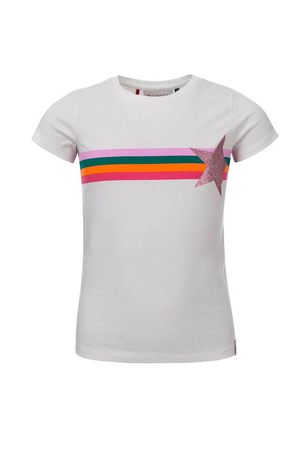 LOOXS little T-shirt met printopdruk en glitters wit/multicolor