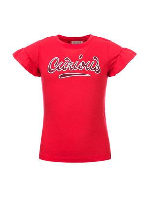 T-shirt met linnen en tekst kersenrood