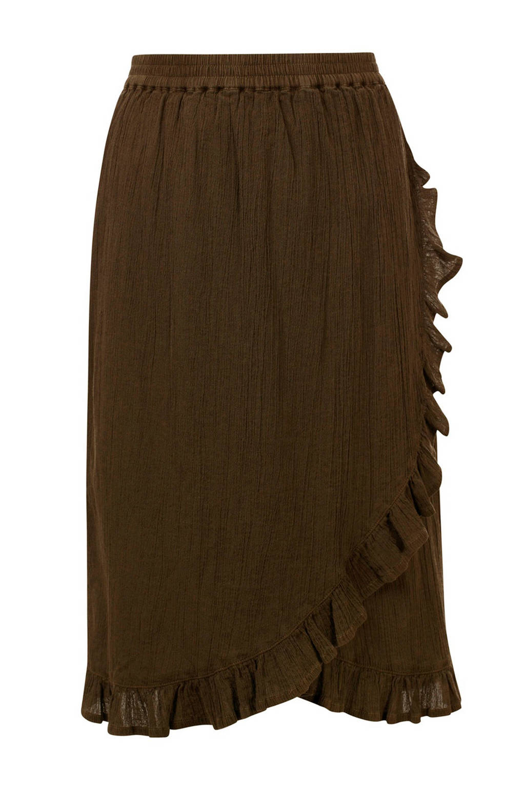LOOXS rok met volant bruingroen, Bruingroen