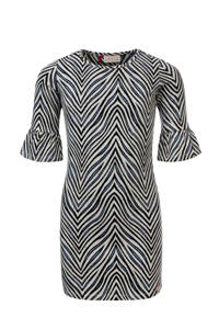 LOOXS jersey jurk met all over print zwart/wit, Zwart/wit