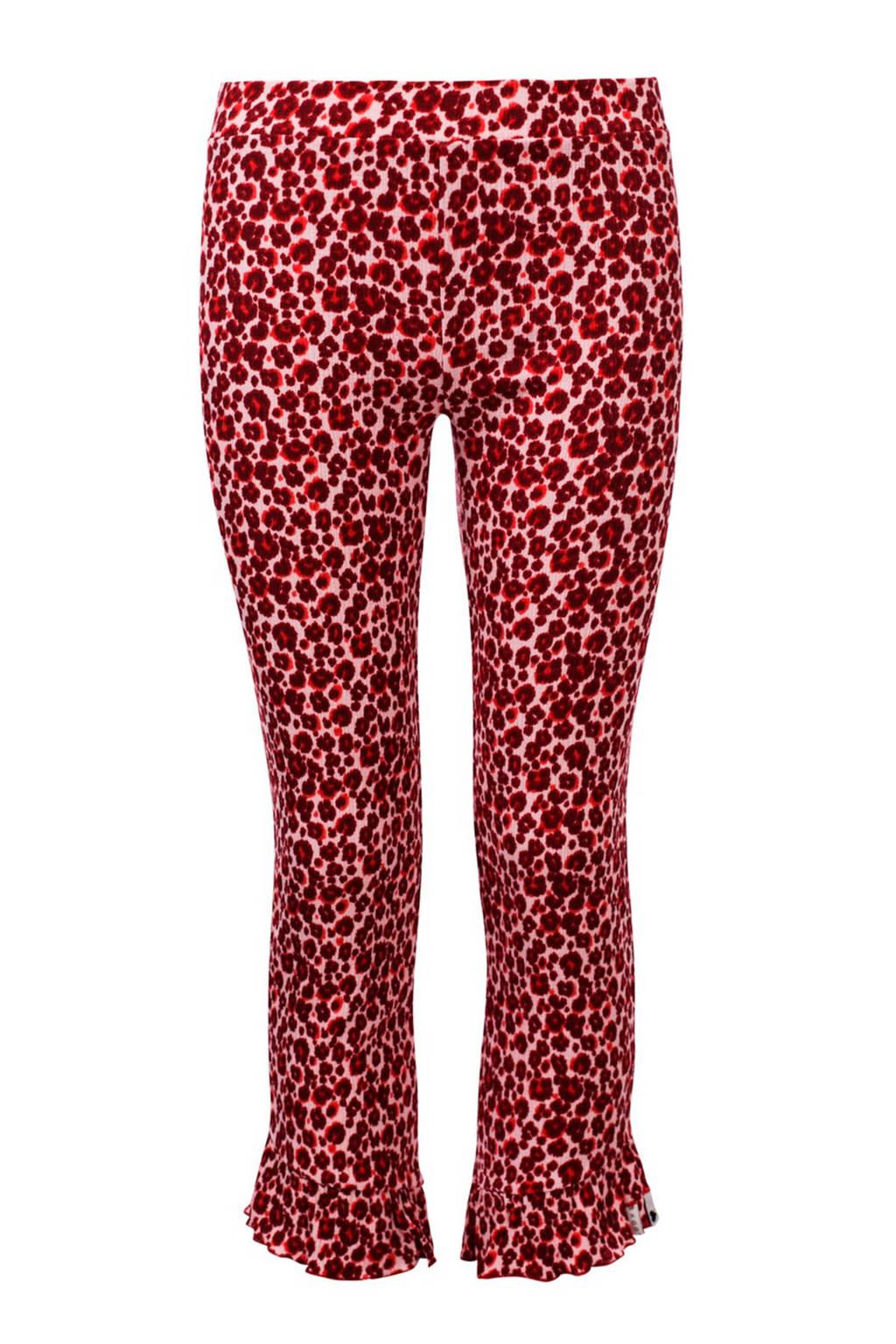 LOOXS flared broek met panterprint rood/roze, Rood/roze