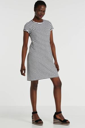 gestreepte jersey jurk wit/zwart