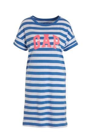 gestreepte T-shirtjurk blauw/wit