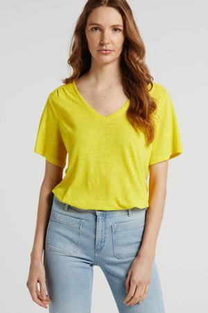 T-shirt met linnen geel