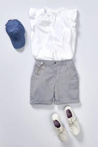 GAP gestreepte straight fit short blauw/wit, Blauw/wit