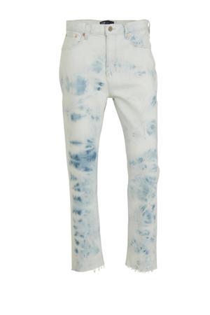 tie-dyehigh waist boyfriend fit jeans lichtblauw