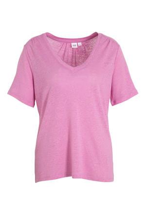 T-shirt met linnen roze