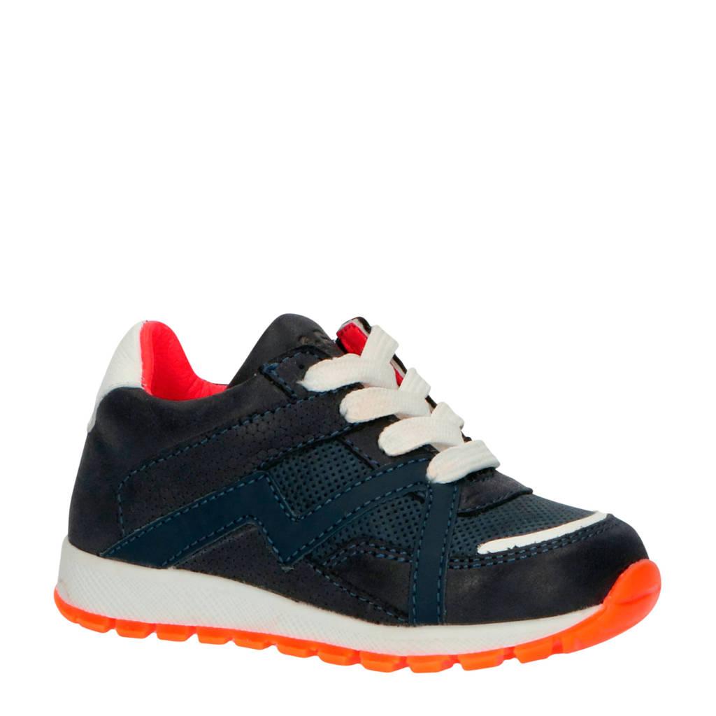 JOCHIE&FREAKS 20202  leren sneakers blauw/oranje, Blauw/wit