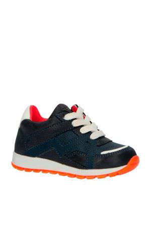 20202  leren sneakers blauw/oranje