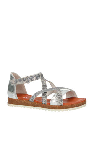 20752  leren sandalen panterprint zilver