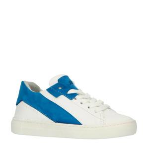 20208  leren sneakers wit/blauw