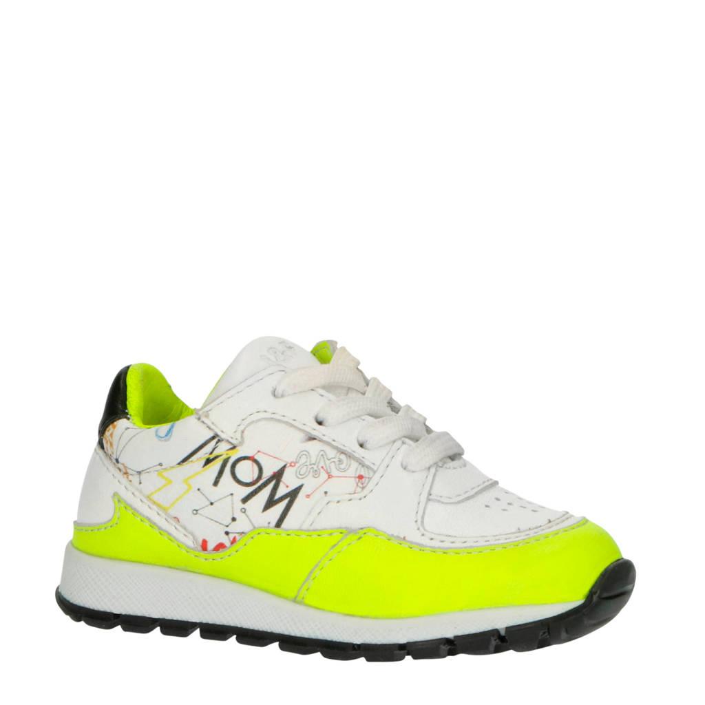 JOCHIE&FREAKS 20204  leren sneakers wit/neon geel