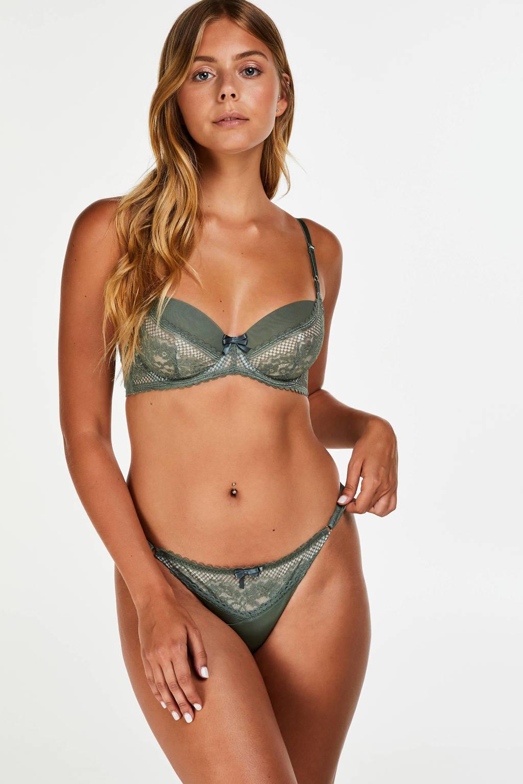 Hunkemöller string Malika groen, Groen / wit