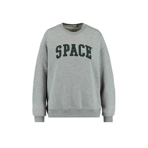 America Today sweater met tekst grijs