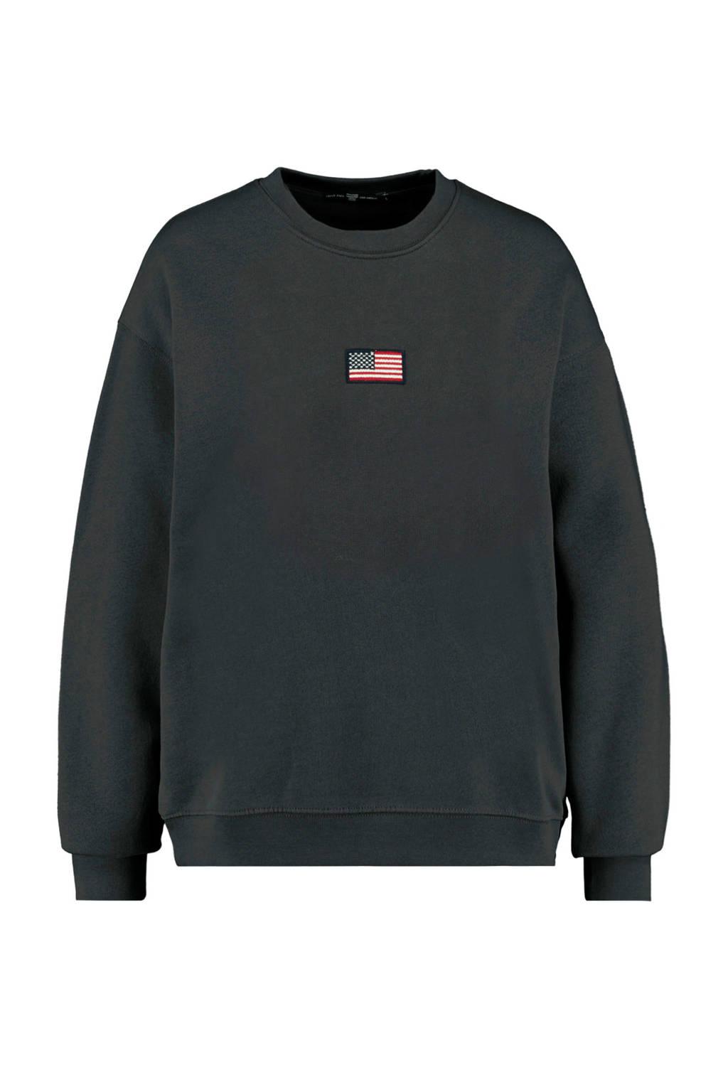 America Today sweater Sonny met logo zwart, Zwart