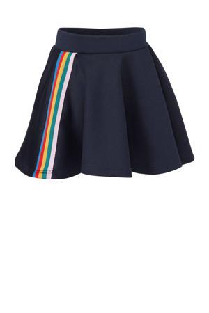 rok met contrastbies donkerblauw/roze/rood