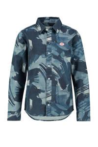 CKS KIDS overhemd Brodan met all over print blauw/lichtblauw, Blauw/lichtblauw