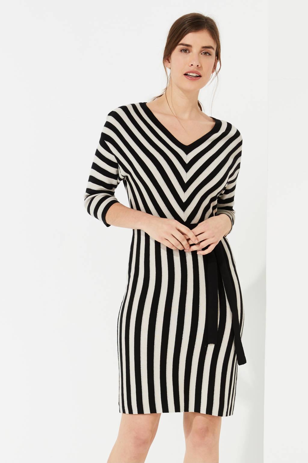 comma gestreepte fijngebreide jurk zwart/wit, Zwart/wit
