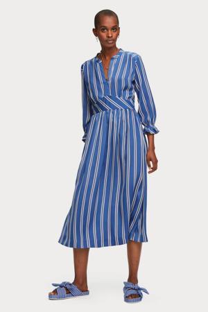 maxi jurk met all over print en ruches blauw/wit