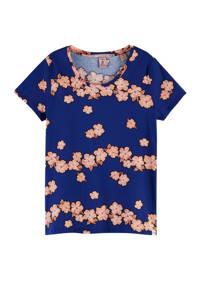 Scotch & Soda gebloemd T-shirt, Blauw/roze
